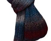 Hand Knit Scarf - Teal Grey Burgundy Tweed Trail Ridge Rib Wool