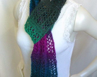 Hand Knit Lace Scarf with Sequins - Woman's Lace Scarf, Teal Green and Orchid Scarf, Spring Fashion Scarf, Ready to Ship, Handmade in the US