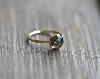 Mini Ring, Stacking Ring, Black Rutilated Quartz Bezel Stacking Ring.