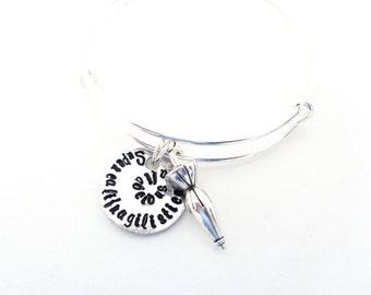 Inspirational Quote Bangle, Supercalifragilisticexpialidocious, Hand Stamped Bangle Bracelet, with Umbrella Customizable