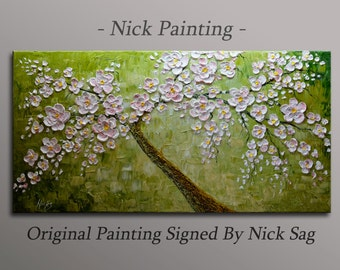 """Modern Wall Oil painting ContemporaryThick textured Impasto - Blooming Almond Tree - By Nick Sag 40"""" x 20"""""""