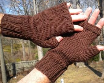 Fingerless Gloves Men's Fingerless Gloves Handknit Brown Merino Wool Handwarmers Brown Fingerless Gloves Men's Brown Wool Fingerless Gloves