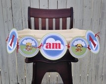 """1st Birthday """"I am 1"""" Highchair Banner • Raining Cats and Dogs • Primary colors • Cats and Dogs Theme"""