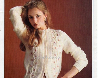 womens cardigan knitting pattern embroidered cardigan pattern fitted round neck  28-40 inch DK ladies Knitting Pattern pdf digital download