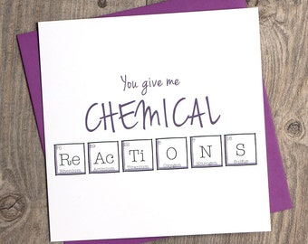 Anniversary Periodic Table | You give me Chemical Reactions | Fun | Funny Anniversary card | Square Card
