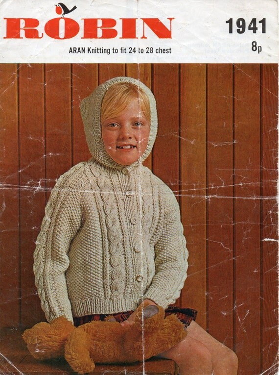 Aran Knitting Pattern With Hood : childrens hooded aran cardigan knitting pattern aran jacket