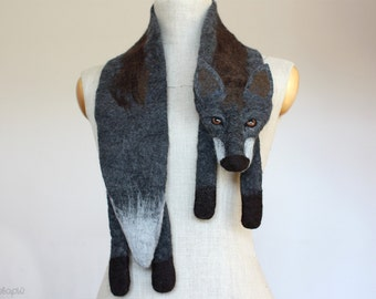 Dark de Luxe - felted wool fox scarf