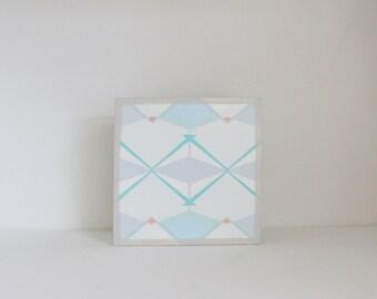 geometric pattern - art for nursery- 5x5 art block- geometric nursery- kid room decor-blue wall art- redtilestudio
