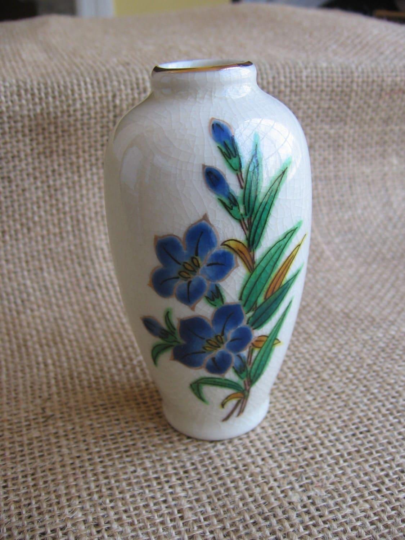 Vintage Homco Mini Vase Blue Floral Vase Made In Japan
