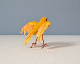Vintage Flock of Three Yellow Birds with Real Feathers