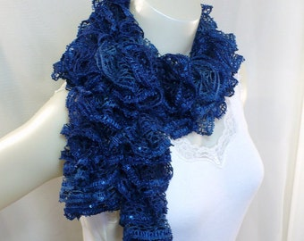 Classic Blue Ruffle Scarf with Sequins - Sapphire Ruffle Scarf, Sashay Sequins Scarf, Hand Knit Woman's Scarf, Ready to Ship