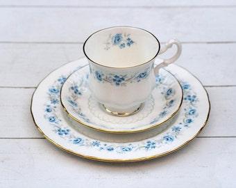 SALE Vintage English Teacup and Saucer Trio Set - Blue Floral Border on White