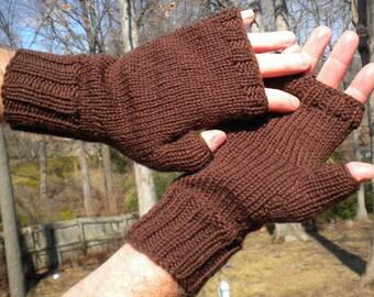 Fingerless Gloves Men's Fingerless Gloves Hand Knit Brown Merino Wool Hand Warmers Fingerless Gloves Men's Brown Wool Fingerless Gloves