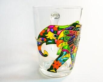 Coffee Mug Indian Elephant Mug, Fathers Day Mug, Hand Painted Cup, Coffee mugs handmade