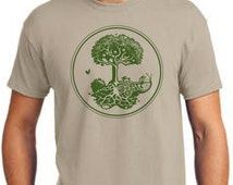 Permaculture Tree Graphic T- Shirt. Hugelkultur, Swale, and Fruit Tree Guild