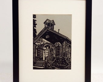 "Schoolhouse handmade linocut print 5x7"", unframed (gravel gray) - home decor, wall art, made in Michigan, birthday gift, teacher gift"