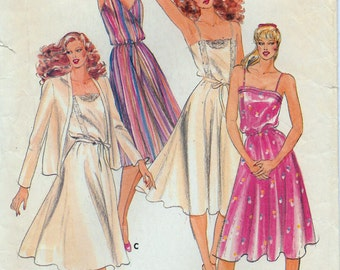 "Vintage Women's Sundress Pattern and Cardigan Jacket Butterick 3514 Bust 31-1/2"" Misses Sz 8"