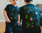 Dad and Baby Matching Shirts, Space Shirts, Christmas Gift from Daughter, Car Play Mat Shirts Dad and Son Outer Space Birthday Roads on Back