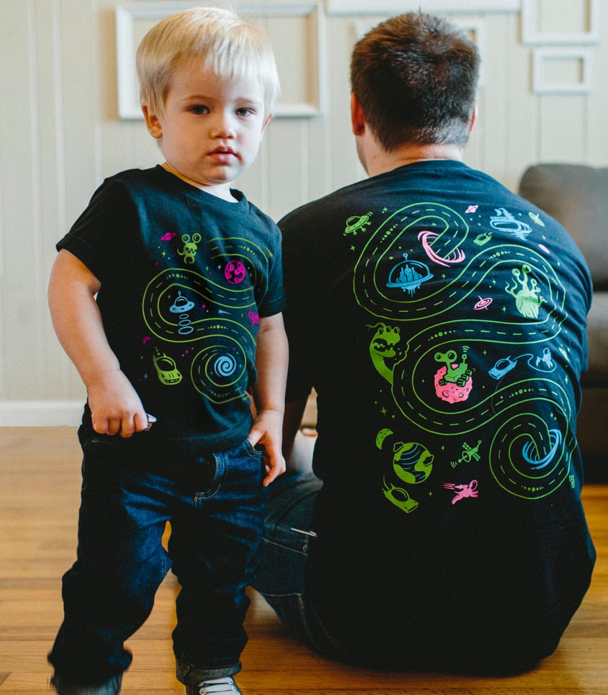 Matching father & son space shirts