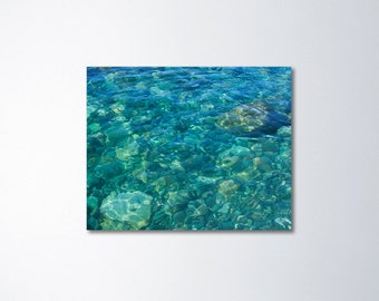 Water Canvas Art, Turquoise Art, Teal Wall Art, Ocean Canvas Art, Nature Canvas Photography Beach Canvas Wall Decor Peaceful Art Ocean Floor