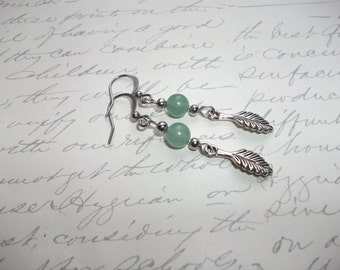 Silver feather earrings with green amazonite stones
