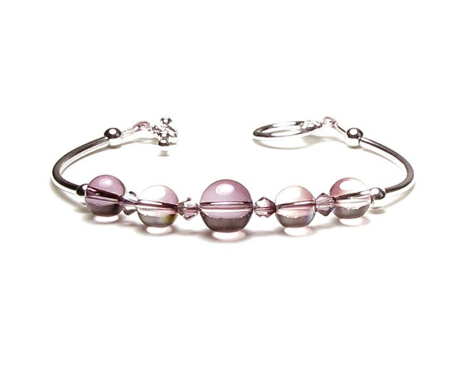 Lilac Shadow Swarovski Crystal Orb Silver Beaded Bracelet New Romantic Rose Variation Color Globe Bead Unique Spring Jewelry Trend For Women