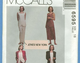 1993 Misses' Lined Jacket, Lined Top, Skirt & Pants Jones New York Size 18 - Vintage McCall's Sewing Pattern 6595