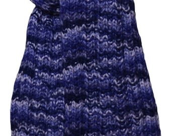 Hand Knit  Scarf - Purple Periwinkle Mix Alpaca Trail Ridge Rib