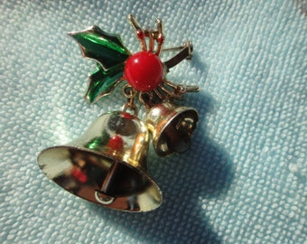 Beautiful Bell Holly Christmas Brooch Vintage Pin