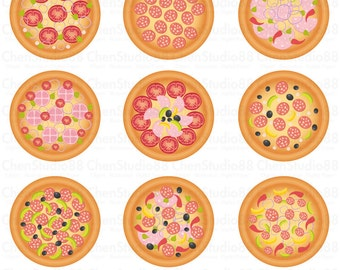 Yummy Pizza vector - Digital Clipart - Instant Download - EPS, PNG files included