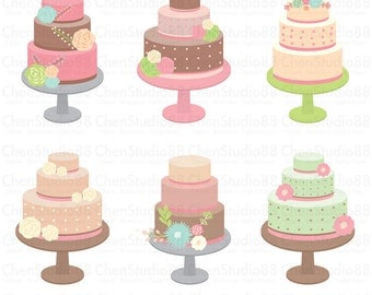 Wedding cake vector - Digital Clipart - Instant Download - EPS, PNG files included