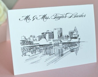 Newark New Jersey Skyline Place Cards Personalized with Guests Names (Sold in sets of 25 Cards)