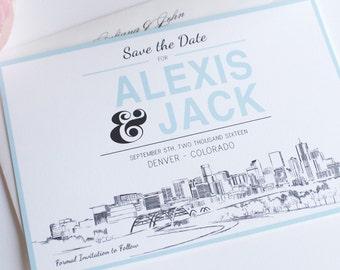 Denver Skyline Save the Date Cards Hand Drawn (set of 25 cards)