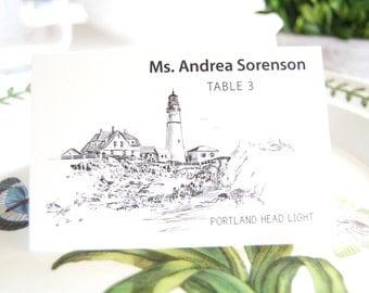Portland Head Light House Skyline Blank Folded Place Cards (Set of 25 Cards)