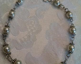 Pearl Bracelet. Creamy Pearls in Peruvian Silver Bracelet