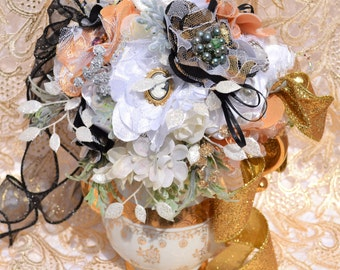 Vintage Teapot Centerpiece, Handmade Fabric Flowers, Vintage Brooch Flower Centerpiece
