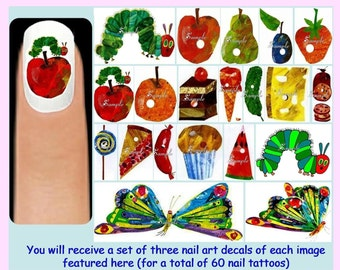 60 x The VERY HUNGRY CATERPILLAR Nail Art Decals + Free Rhinestones Butterfly Food Apple