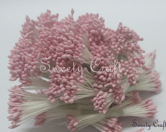 Light Pink Color 200pcs. Water droplets Shape, Artificial Flower Stamen, Pollen Flower for Handmade Flowers, Cards