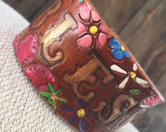 "Hand painted ""Blessed"" leather cuff"