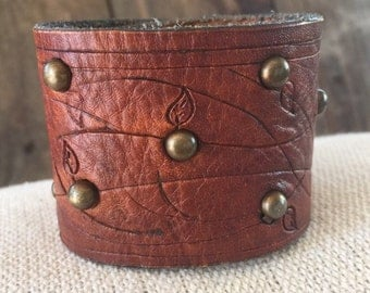 Wide Leather Cuff with Studs