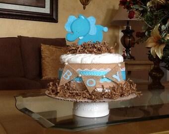Baby boy diaper cake/mini diaper cake Elephant diaper cake/centerpiece