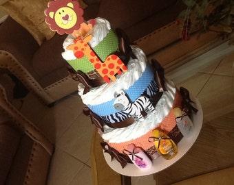 Safari diaper cake /Safari baby shower/ Boy baby shower gift/Centerpiece