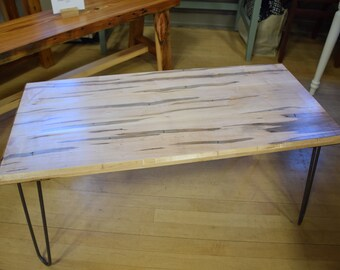 Ambrosia Maple Coffee Table with Steel Hairpin Legs