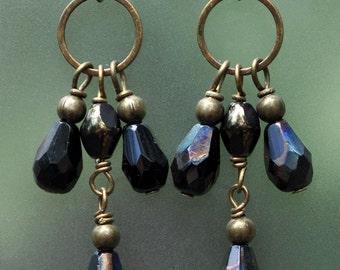 Bronze and Black Crystal Drop Chandelier Earrings