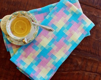 Turquoise, Yellow, And Pink, Handwoven Retro Kitchen Towels
