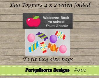 DIY - Bag Toppers/ Candy Bag Toppers Personalised