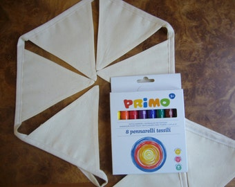 Design your own bunting and fabric pens