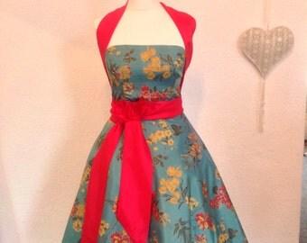 Teal floral print dress