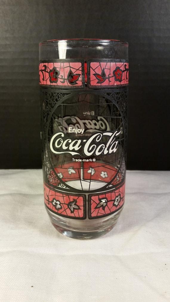 coca cola verre vitrail coke vintage tumbler boire verre. Black Bedroom Furniture Sets. Home Design Ideas