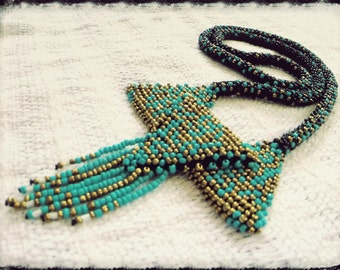 Long rope crochet statement necklace